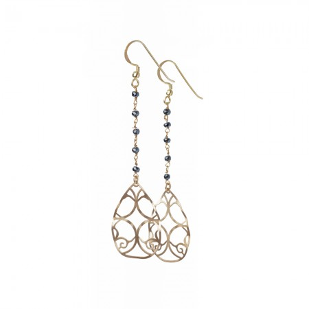 Gold Teardrop & Hematite Rosary Drop Earrings